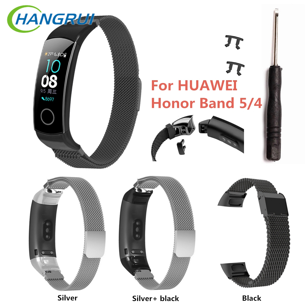 <font><b>Honor</b></font> Band5 <font><b>NFC</b></font> Strap For <font><b>Honor</b></font> <font><b>Band</b></font> 5 Metal Wristband Replacement Stainless Steel Bracelet Strap For <font><b>Honor</b></font> <font><b>Band</b></font> <font><b>4</b></font> 5 Wrist Strap image