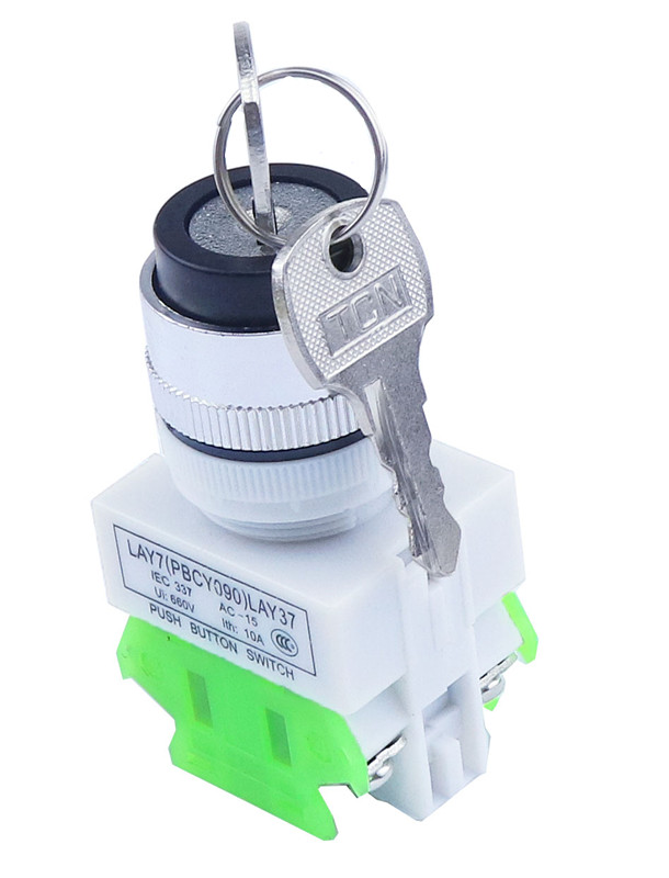 LAY37 AC 380V 10A DPST 2 Position 3 Position Rotary Selector Key Lock Switch 2no LAY7