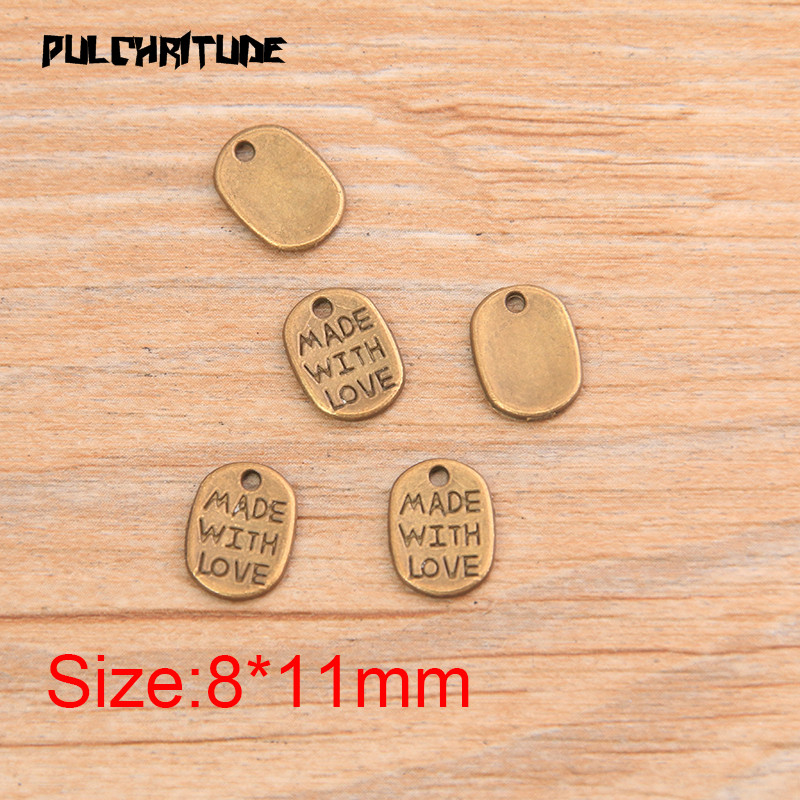 """PULCHRITUDE 60pcs 8*11mm Two Color Letter Charms """"MADE WITH LOVE """"Pendants Handmade  Vintage For DIY Jewelry Making Findings 4"""