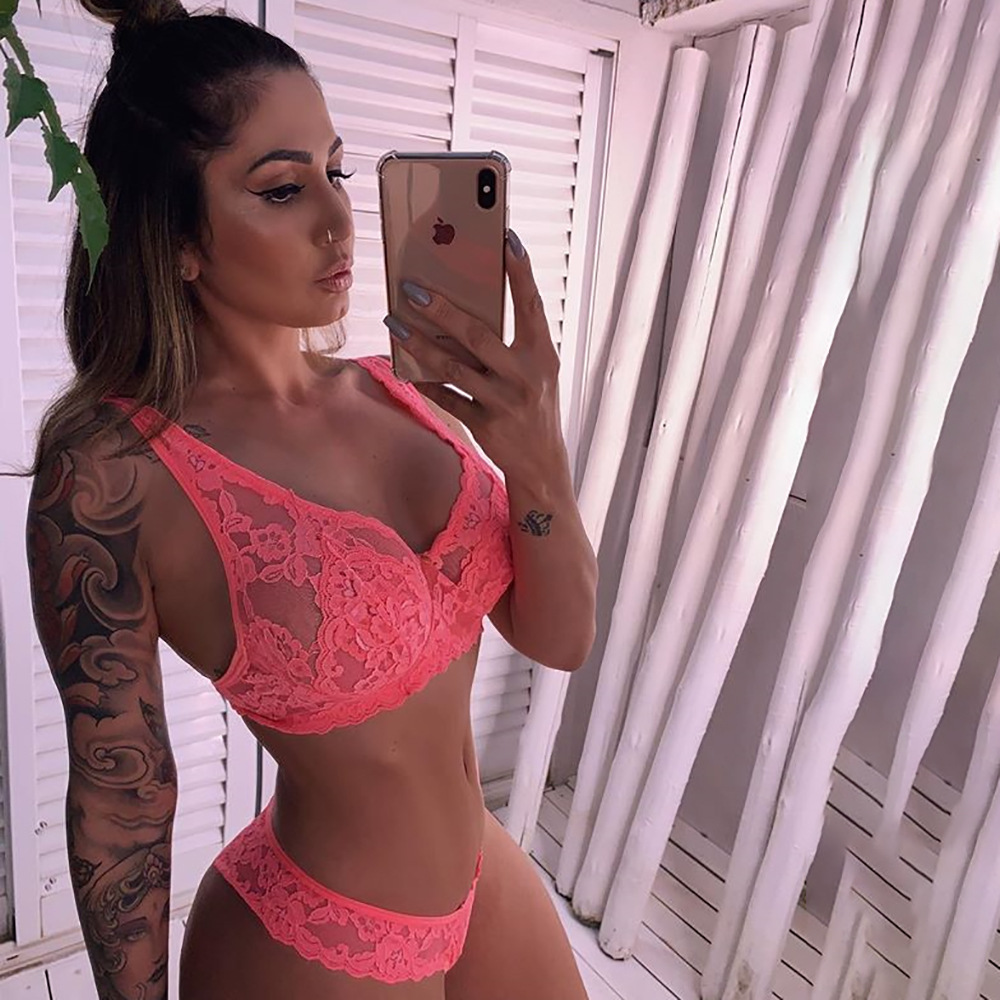 OMSJ 2019 New Sexy Style Neon Pink Mesh Underwear Sets Floral Lace See Through Patchwork Lingerie Set Lounge Sheer Bra And Thong