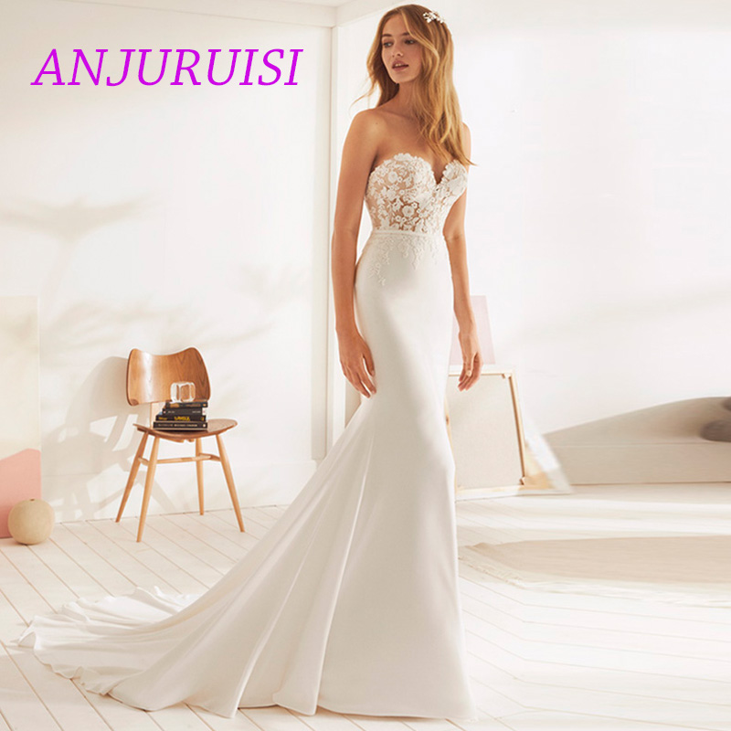 ANJURUISI 2019 Vintage Mermaid Wedding Dress Elegant Appliqued Lace Bridal Dress Sweetheart Soft Satin Sexy Sereia With Buttons