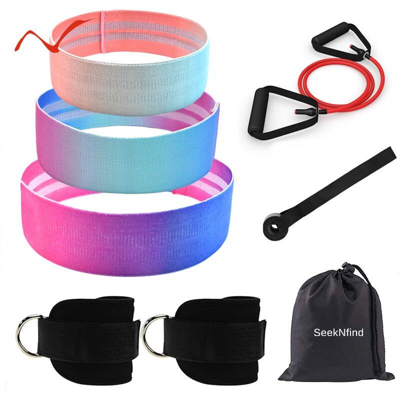 New Resistance Bands Exercise Bands For Legs And Butt Non Slip Hip Fitness Booty Workout Bands With Door Anchor Elastic Bands