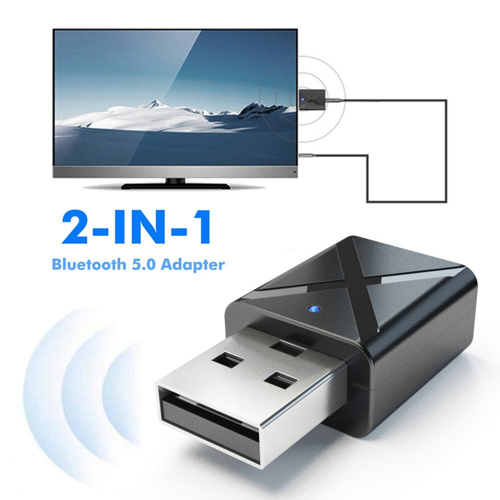 USB Bluetooth 2 In 1 USB Bluetooth 5.0 Transmitter Receiver Audio Adapter For Computer PC PS4 Mouse Aux Audio Transmitter Aptx