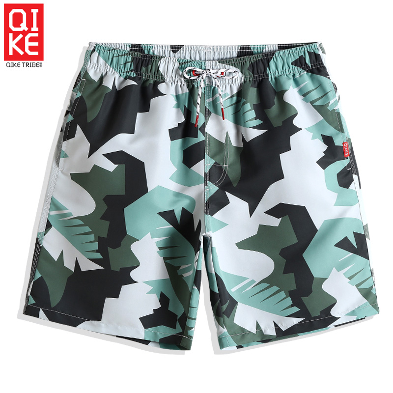 QIKE Summer Bathing suit Men's Swimming trunks Camouflage joggers   Board     shorts   briefs Beach   shorts   plavky briefs mesh