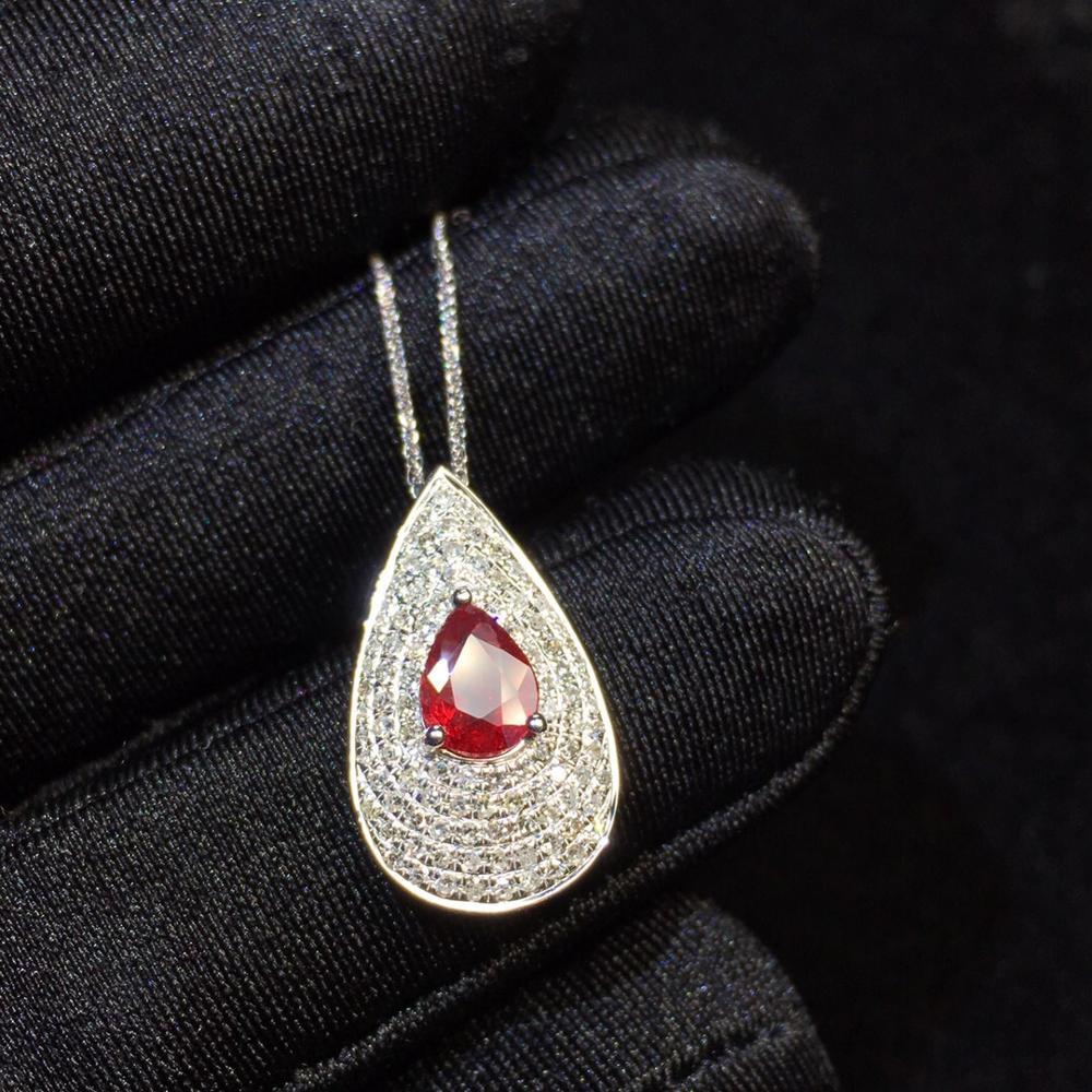 Rubis Fine bijoux véritable or 18K AU750 G18K naturel 100% rubis pendentif 0.6ct or diamant pendentif pierres précieuses colliers pour les femmes