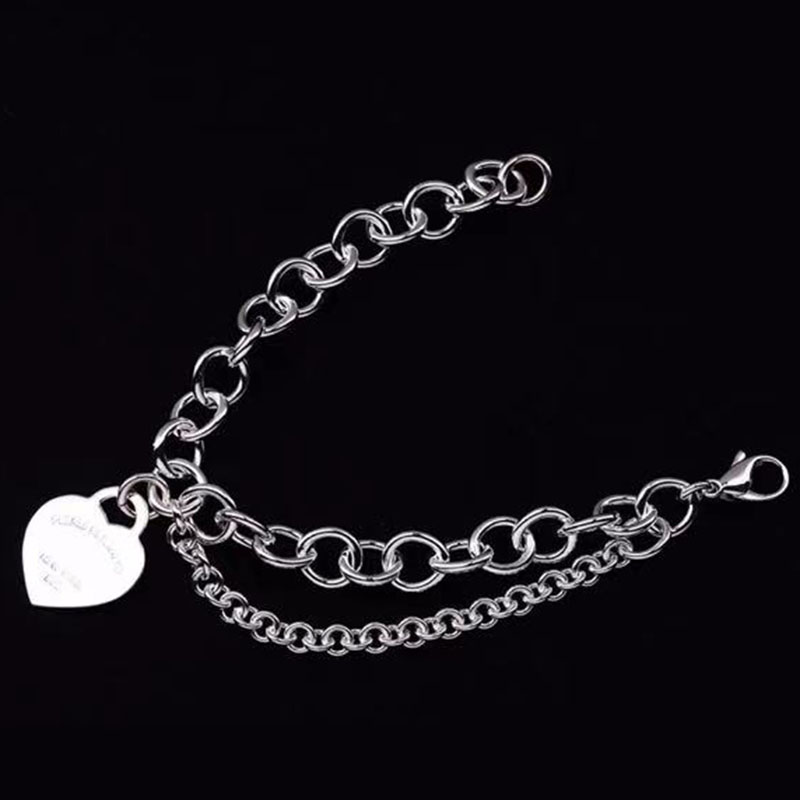 Personality party punk style s925 silver 1:1 couple double-layer bracelet men's and women's cable chain