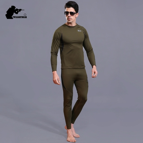 Winter Mens Thermal Underwear Suit Fleece Warm Breathable Sport Underwear Suits Men Army High Elastic Quick Drying Set AF152 Karachi