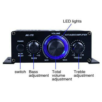 LED AMP Amplificador Home Theater USB TF Card Player 2