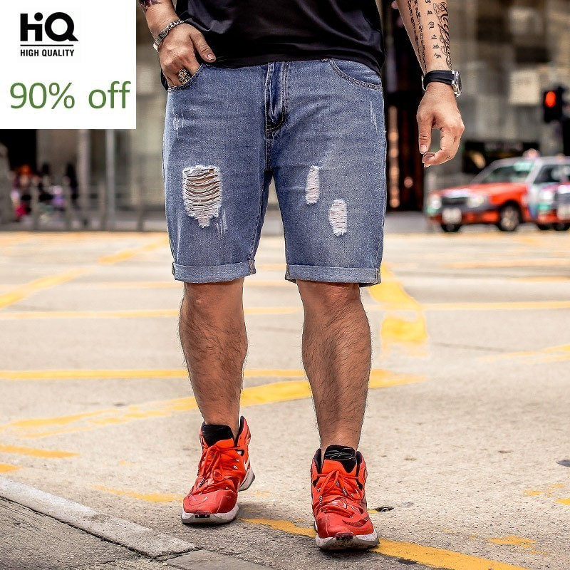 Summer New Fashion Men Shorts 2020 Straight Hole Ripped Vintage Knee Length Male Trousers Streetwear Zipper Casual Man Plus Size