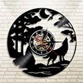 1 шт. светодиодный виниловые часы с подсветкой и изображением волка  цвет меняющий атмосферу  крутой декор для интерьера гостиной