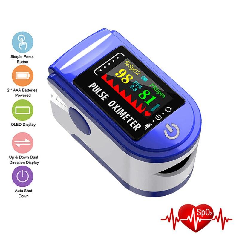 Цифровой Пульсоксиметр на кончик пальца, OLED-дисплей, датчик кислорода в крови, измерительный прибор для дома, спортивный оксиметр De Dedo с кор...