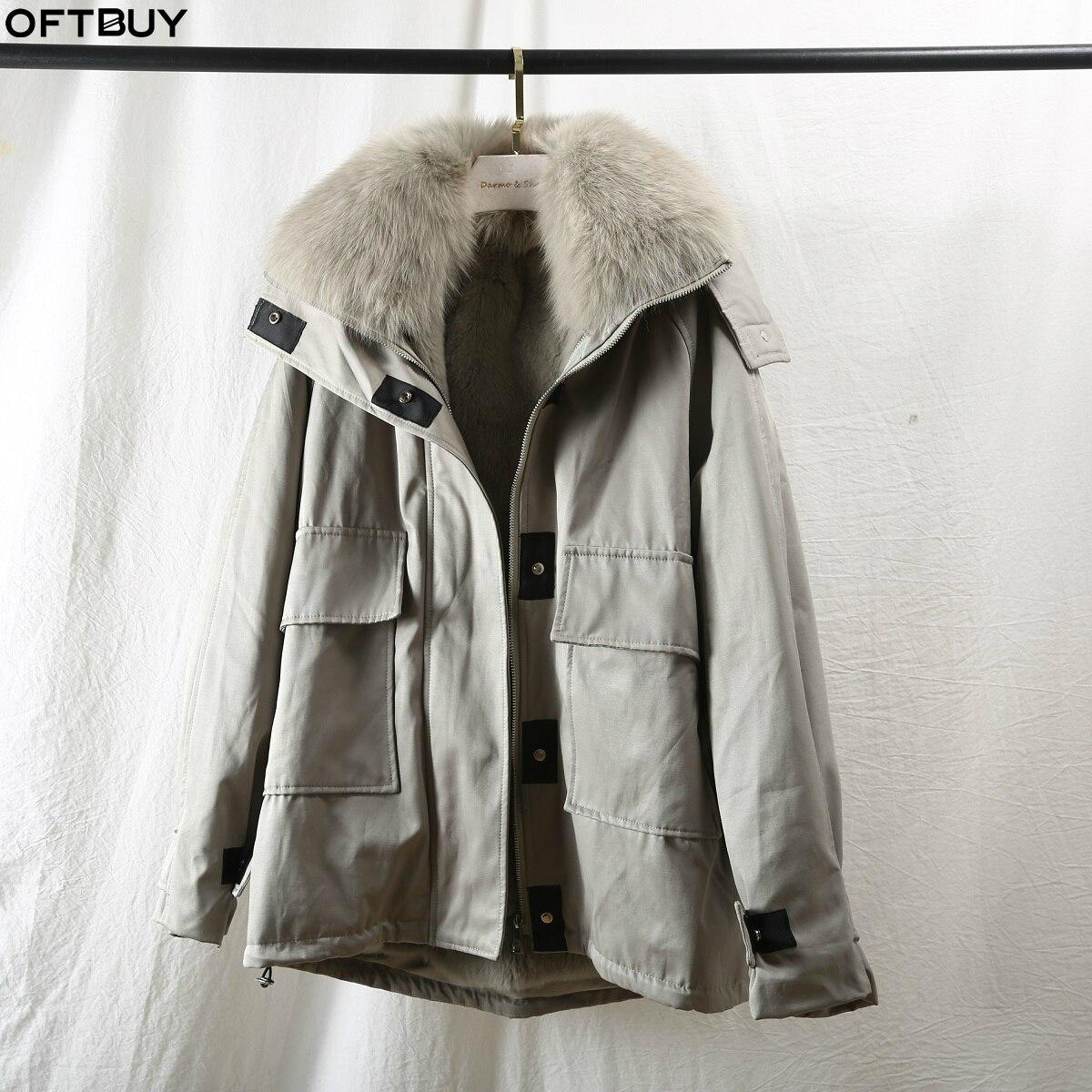 OFTBUY 2019 Safari Style Parka Real Fur Coat Winter Jacket Women Natural Fox Fur Collar Rex Rabbit Liner Outerwear Detachable