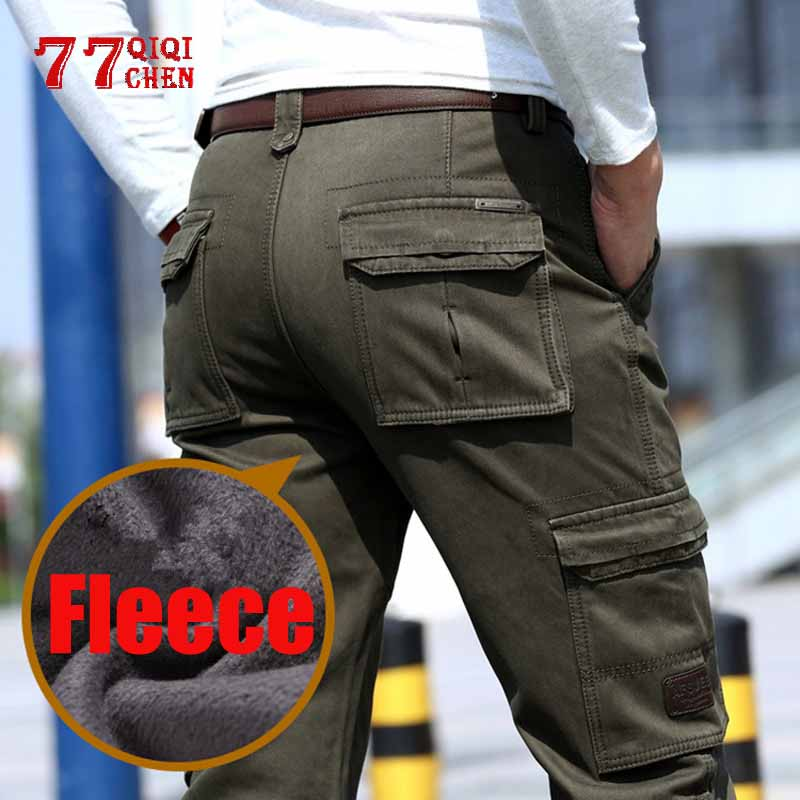 2019 Fleece Warm Winter Cargo Pant Mens Cotton Casual Loose Multi-pocket Trousers Jogger Hombre Thicken Military Tactical Pants