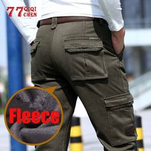 2019 Fleece Warm Winter Cargo Pant Mens Cotton Casual Loose Multi-pocket trousers jogger hombre Thicken Military tactical pants(China)