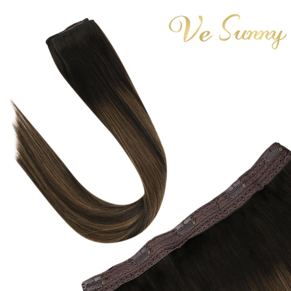 VeSunny One Piece Clip In Hair Extensions Human Hair Double Weft Clip On Extensions Balayage Brown #2/2/6