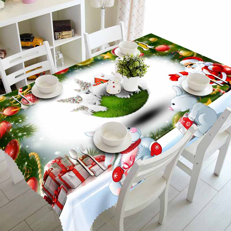 Meijuner New Year Christmas Tablecloth Kitchen Dining Table Decorations  Home Rectangular Party Table Covers Christmas Ornaments