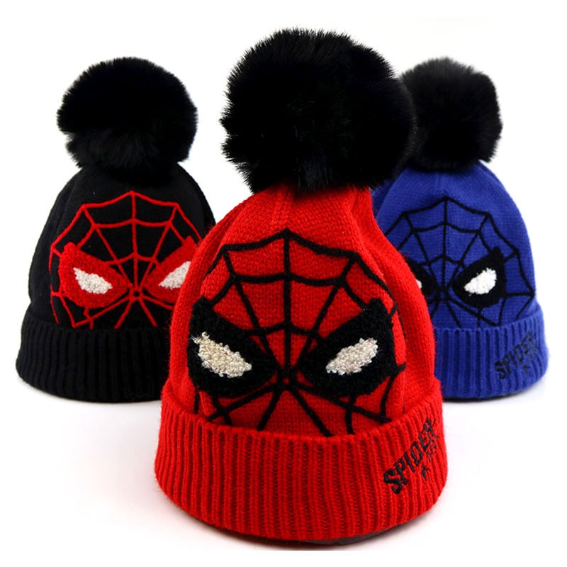 2019 Cartoon Spider men Thicken knitted hat winter warm hat   Skullies   cap   beanie   hat for kid boy and girl 73