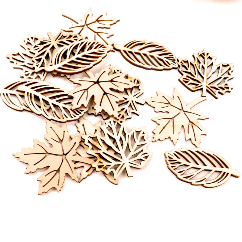 Natual Wooden Leaves Pattern Scrapbooking Painting Craft Handmade Accessory Sewing Home Decoration DIY 50-52mm 10pcs(China)