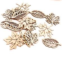 Natual hojas de madera patrón Scrapbooking pintura artesanal accesorio hecho a mano costura decoración del hogar DIY 50-52mm 10 piezas