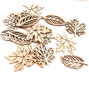 Natual Wooden Leaves Pattern Scrapbooking Painting Craft Handmade Accessory Sewing Home Decoration DIY 50-52mm 10pcs