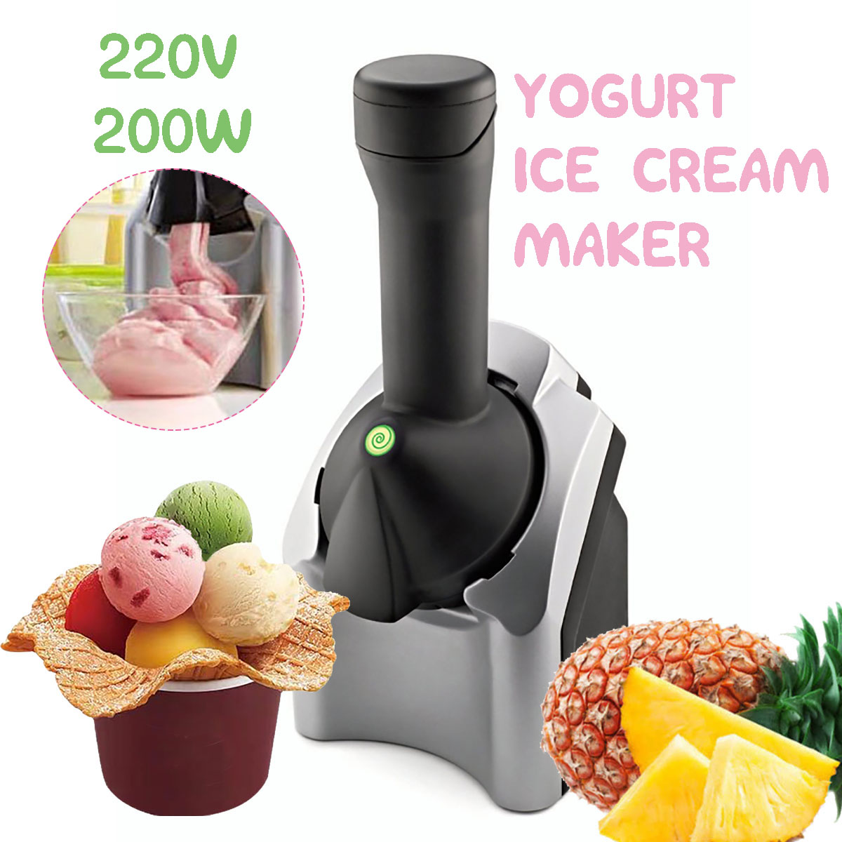 220v 220W DIY Ice Cream Maker Machine Portable Size Household Use Automatic Frozen Fruit Dessert Machine