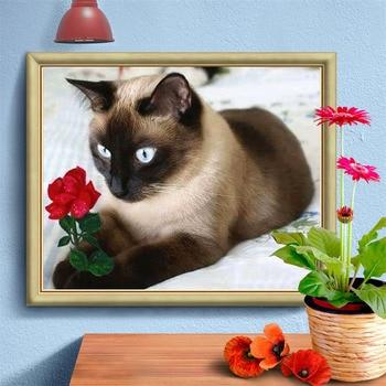 HUACAN Full Drill Square Diamond Painting Cat New Arrival 5D Diamond Embroidery Animal Diamond Art