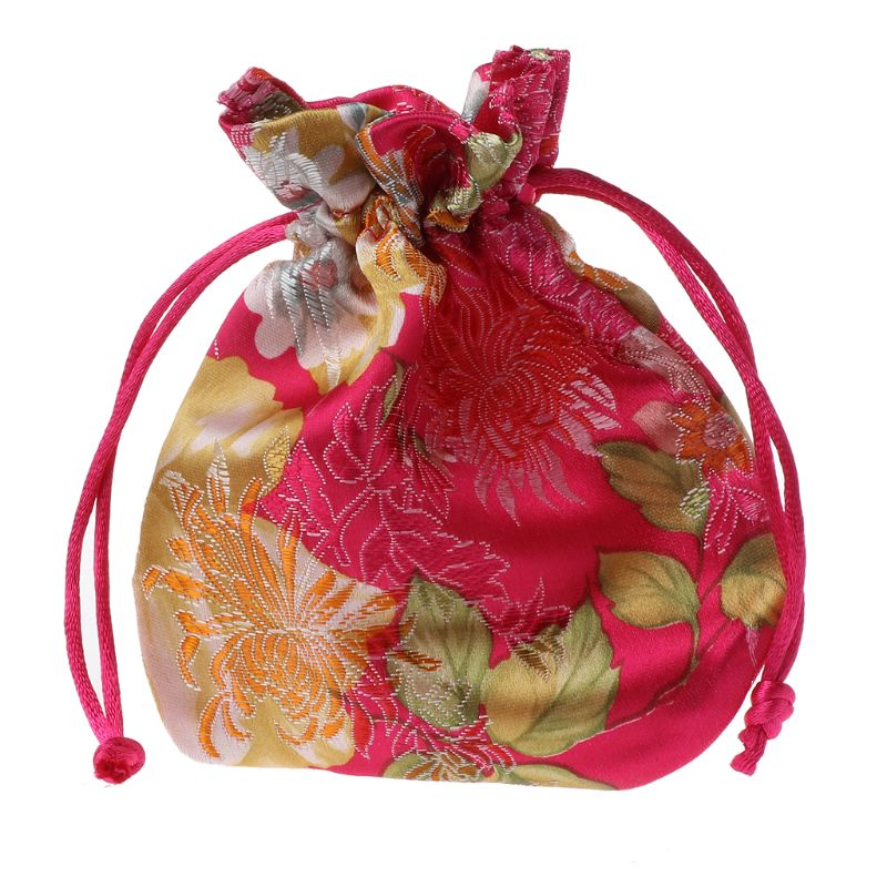 Classic Chinese Flower Embroidery Jewelry Bag Organizer Silk Traditional Pouch 634D