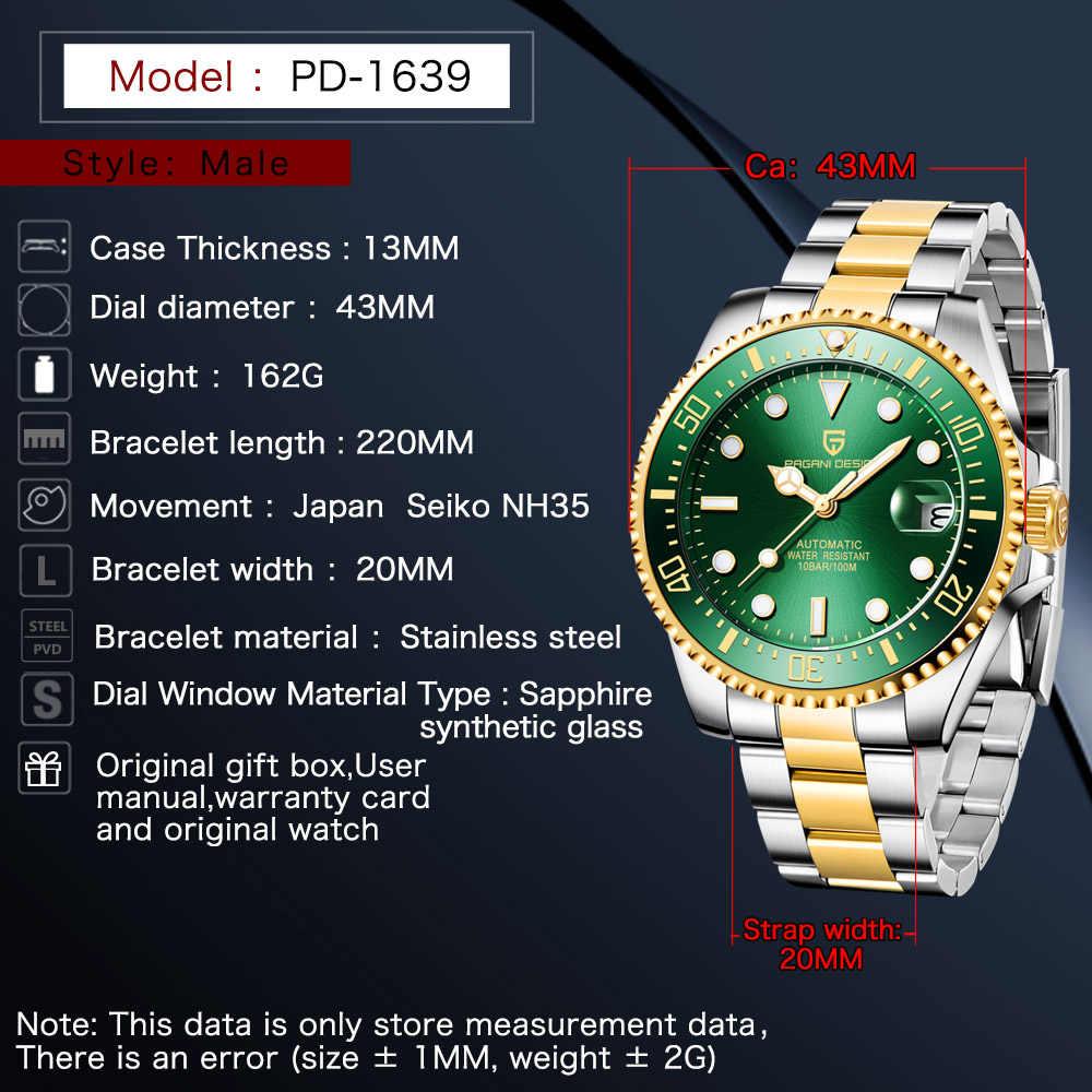 2019 新パガーニデザインブランド自動機械式メンズ腕時計スポーツ 100 メートル防水ゴールドグリーンサファイア腕時計レロジオ Masculino