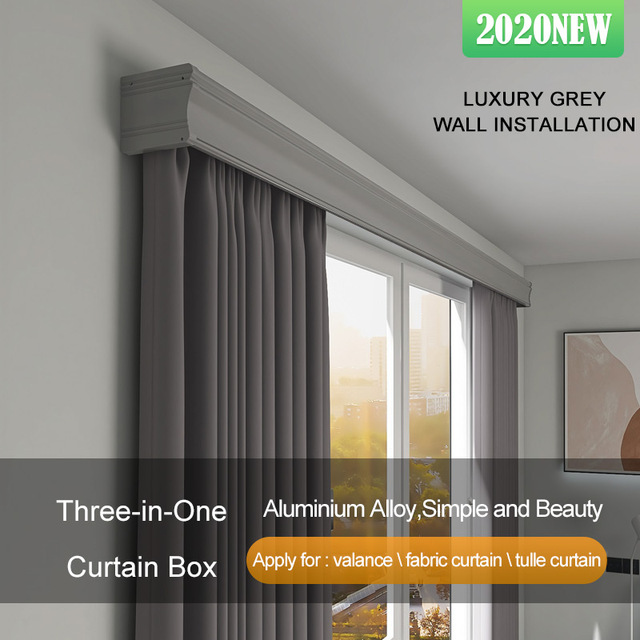 2020 new arrival three in one ivory white curtain box pelmet conjoined double track aluminium alloy straight rails