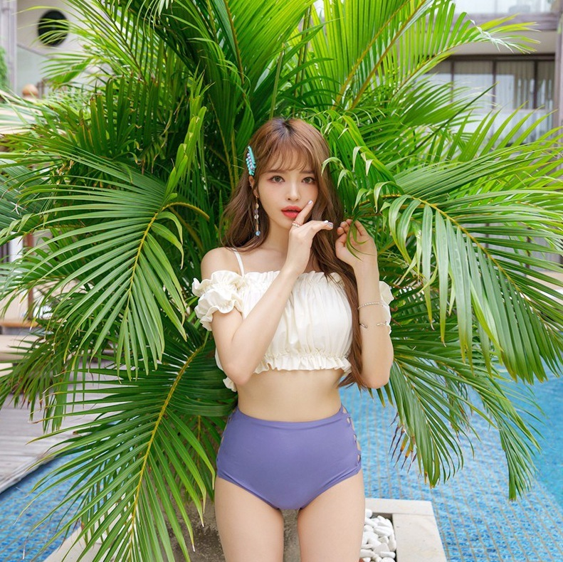 Swimsuit For Full Swimwear Women Bikini Woman 2019 Bathing Clothes Girl Pop New Korean Split High Waist Sexy Solid Polyester