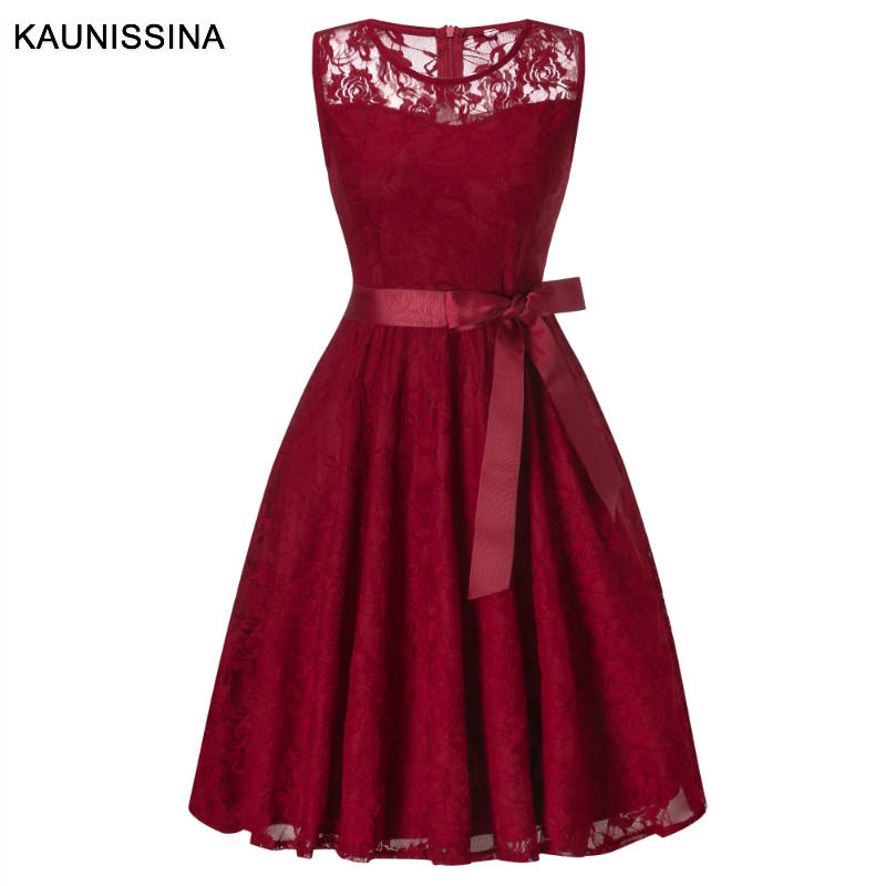 KAUNISSINA Lace Cocktail Dresses Sleeveless A-Line Bowknot Elegant Party Gown Ladies Solid Homecoming Dresses Vestidos