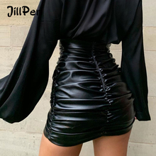 JillPeriผู้หญิงPUหนังKylieกระโปรงเซ็กซี่Ruchedสูงเอวสั้นสีดำสั้นด้านล่างยืดHoliday Partyสวมกระโปรง
