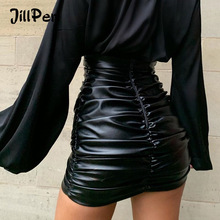 JillPeri Women PU Leather Kylie Skirt Sexy Ruched High Waist Black Short Mini Bottom Stretch Holiday Party Wear Skirts