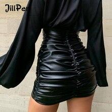 JillPeri Женская юбка из искусственной кожи, сексуальная юбка с рюшами, высокая талия, черная короткая мини юбка, тянущиеся вечерние юбки для отдыха