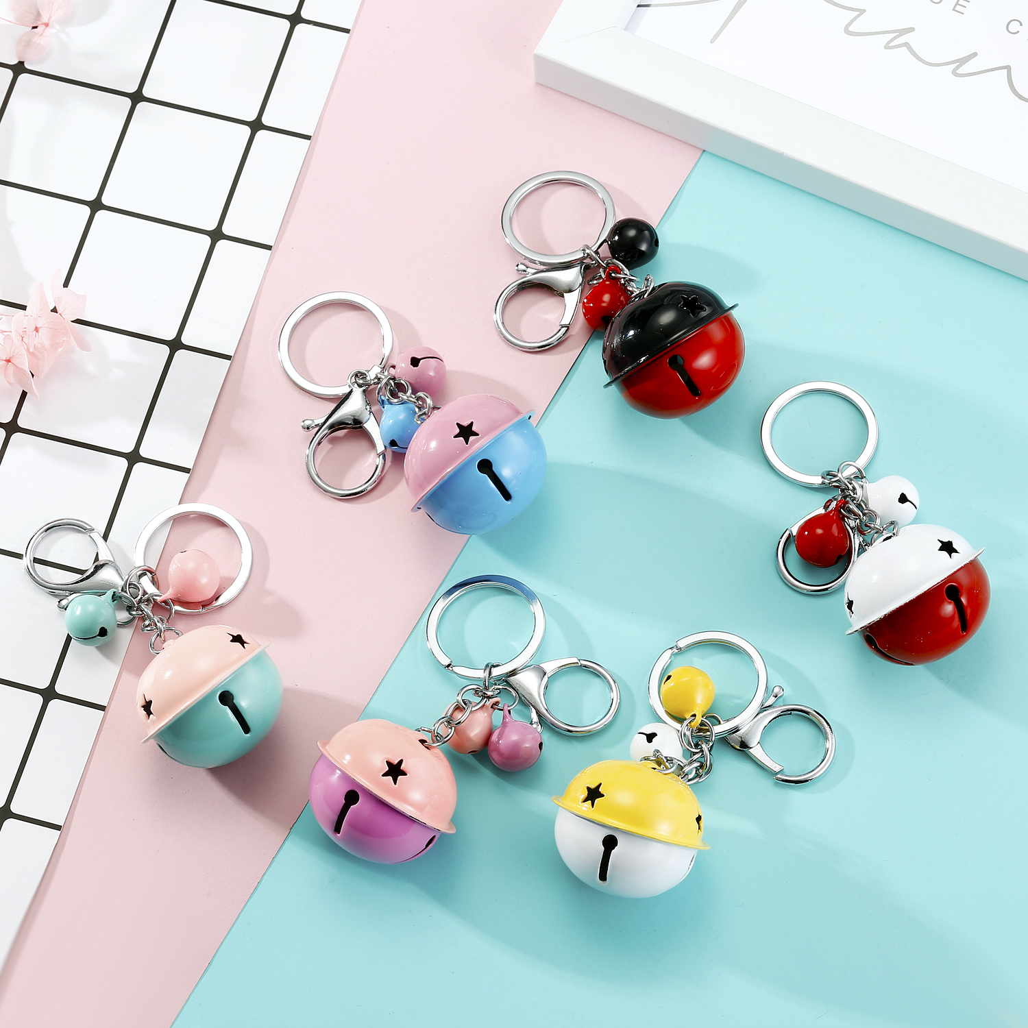 1PC Korea Big Double Bells Keychain Keyring For Women Jewelry Colorful Handbag Keyring Birthday Gift K148