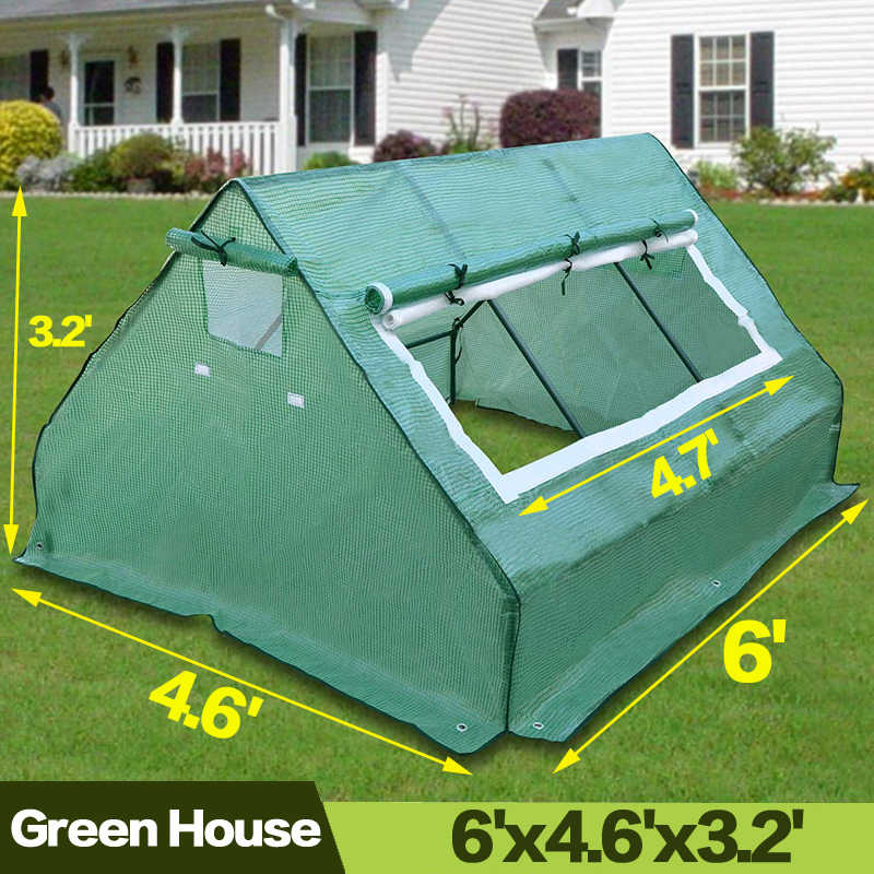 AULAYSED Greenhouse 6'X4.6'X3.2' Garden House Bird Pest Control Durable Protect Plants Flowers water proof insulation with Stand
