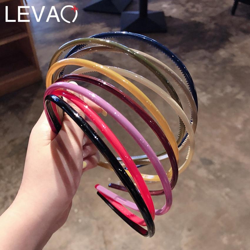 Levao 1PC Candy Color Plastic Headband For Women Hair Bands Girl's Flat Non-Slip Headband Thin Hair Band Hoop Acrylic Hairband