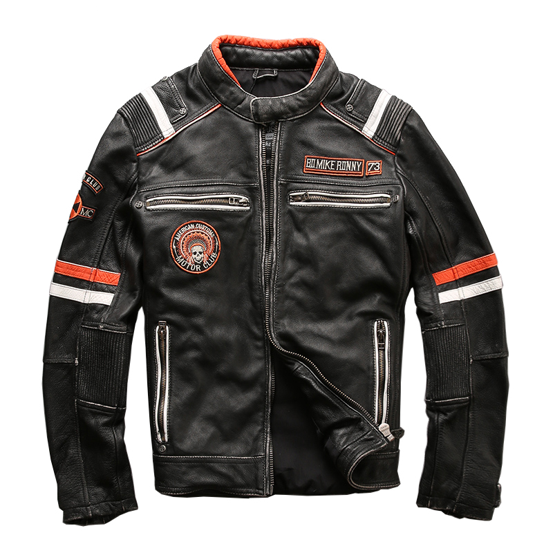 Men's High Quality Cow Leather Outwear Mens Cowhide Genuine Leather Vintage Rider Jacket NL-1628