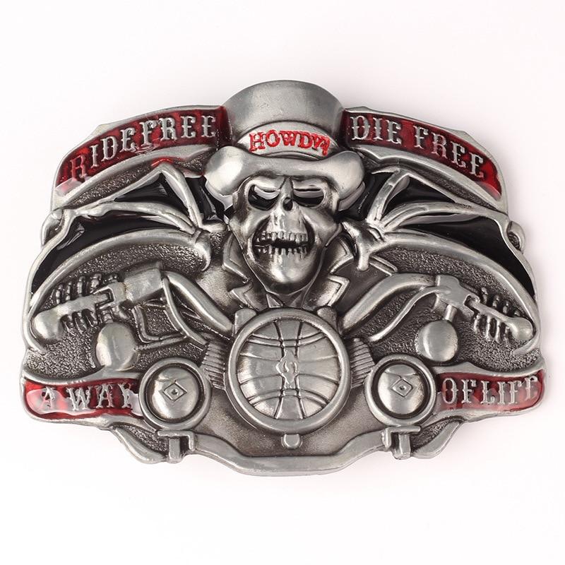 Skull Skeleton Belt Buckle Belt DIY Accessories Undead Knight Buckle Western Cowboy Style Smooth Belt Buckle Punk Rock Style K38