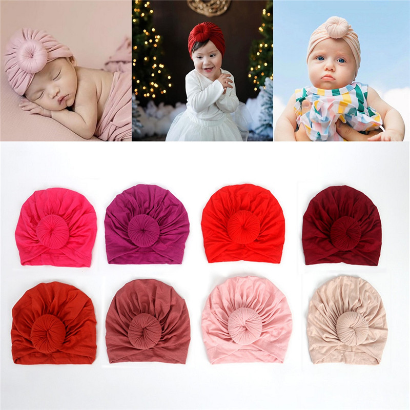 Toddler Kids Baby Headband Bow Cotton Knot Turban Headband  Hat Stretchy Beanie Girl Headwear  Baby Girl Hair Accessories