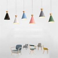 북유럽 다채로운 나무 펜 던 트 램프 e27 매달려 조명 홈 장식 조명 침실 거실 부엌 알루미늄 luminaire