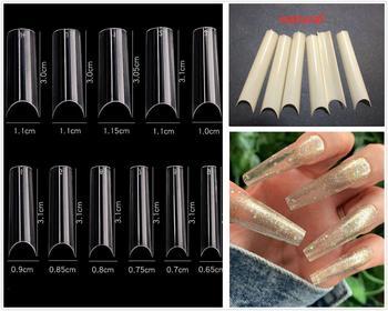 550 pcs/10 XXLExtra Long frech Fake Nails,Curve Clear Nails Tips,Press On Nails,False Nails,Glue On Nails,half cover Nail Tips 1