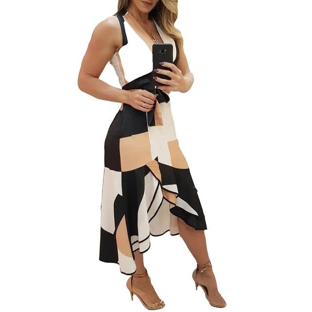 Summer V-neck dress  Sleeveless Contrast Printing Ladies Dresses 1
