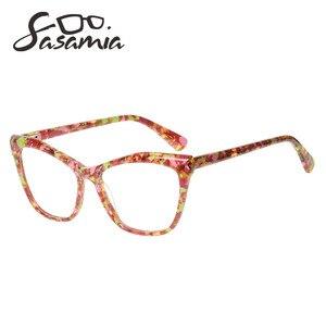 Image 3 - Sasamia 猫メガネフレーム女性眼鏡クリア処方眼鏡光学フレームアセテート近視メガネ女性眼鏡