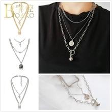 цена на BOAKO Rapper Men Chain Necklace Coin Cross Pendant Necklace Women Long Link Chain necklace hip hop jewelry Punk Girl collier K5