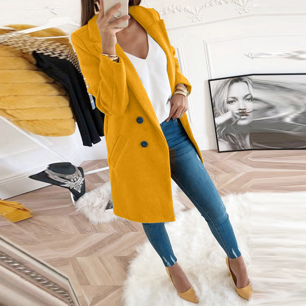 Women Artificial Wool Elegant Blend Coat Slim Plus Size Winter Turn-Down Collar Female Jacket Female Casual Windbreake Coat