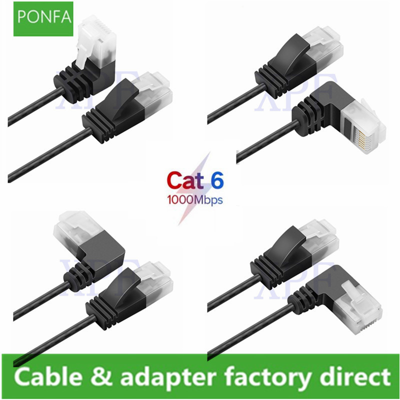 Cat6 Ethernet Ultra Slim Cable Up Down Left Right Angle UTP Network Patch Cable 90 Degree Cat6a For Laptop Router RJ45 Network