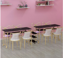Gold black marble manicure table and chair single double table manicure table manicure shop table and chair set combination