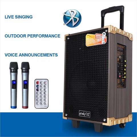 Bluetooth ao ar Portátil com Microfone Leitor de Música Puxar Haste Alto-falante Livre Festa Piquenique Dança Jardim Sala Subwoofer