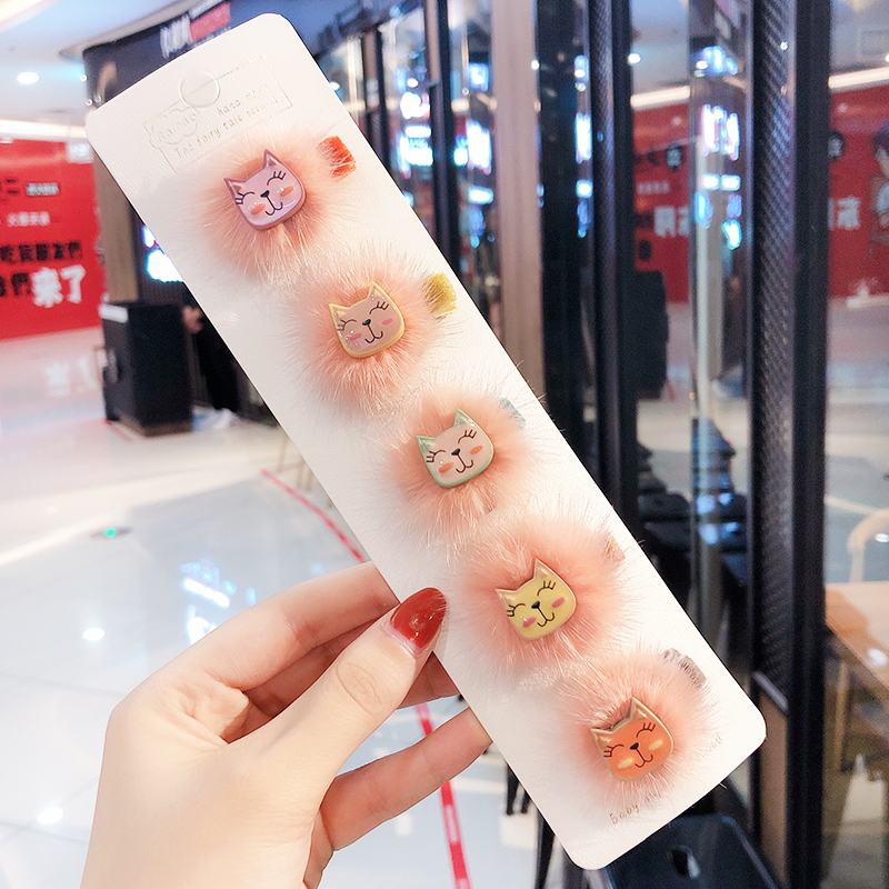 Winter Children Cute Candy Faux Fur Cat Elastic Hair Bands Girls Sweet Acrylic Srnchies Rubber Bands Kid Lovely Hair Accessories